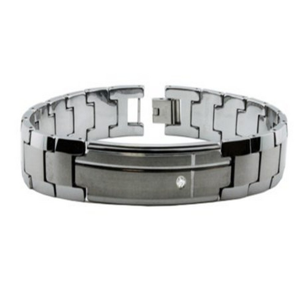 Tungsten bracelet for men with CZ| 14mm width