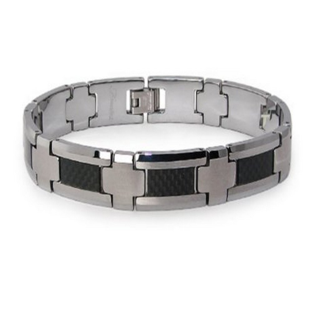 Tungsten bracelet for men with black inlay | 10.5mm width