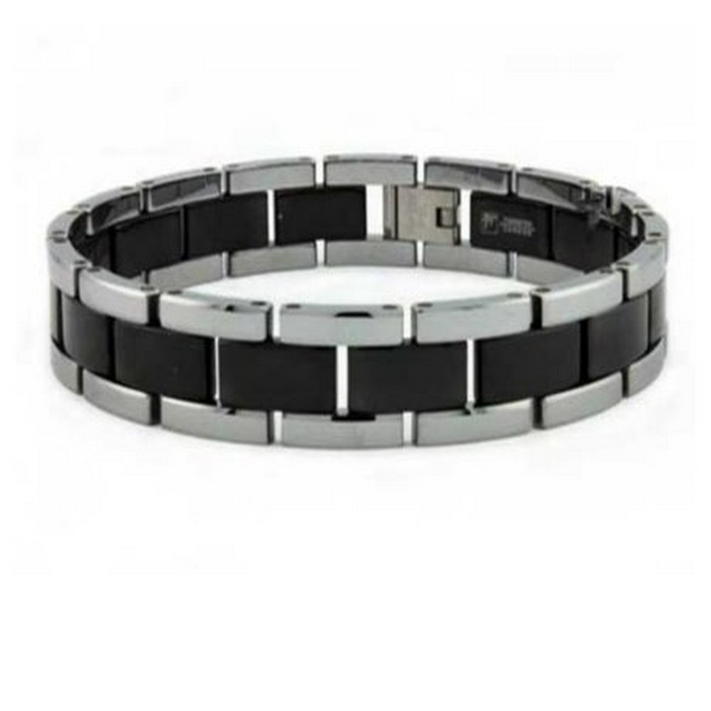 Tungsten bracelet for men with black center | 12mm width