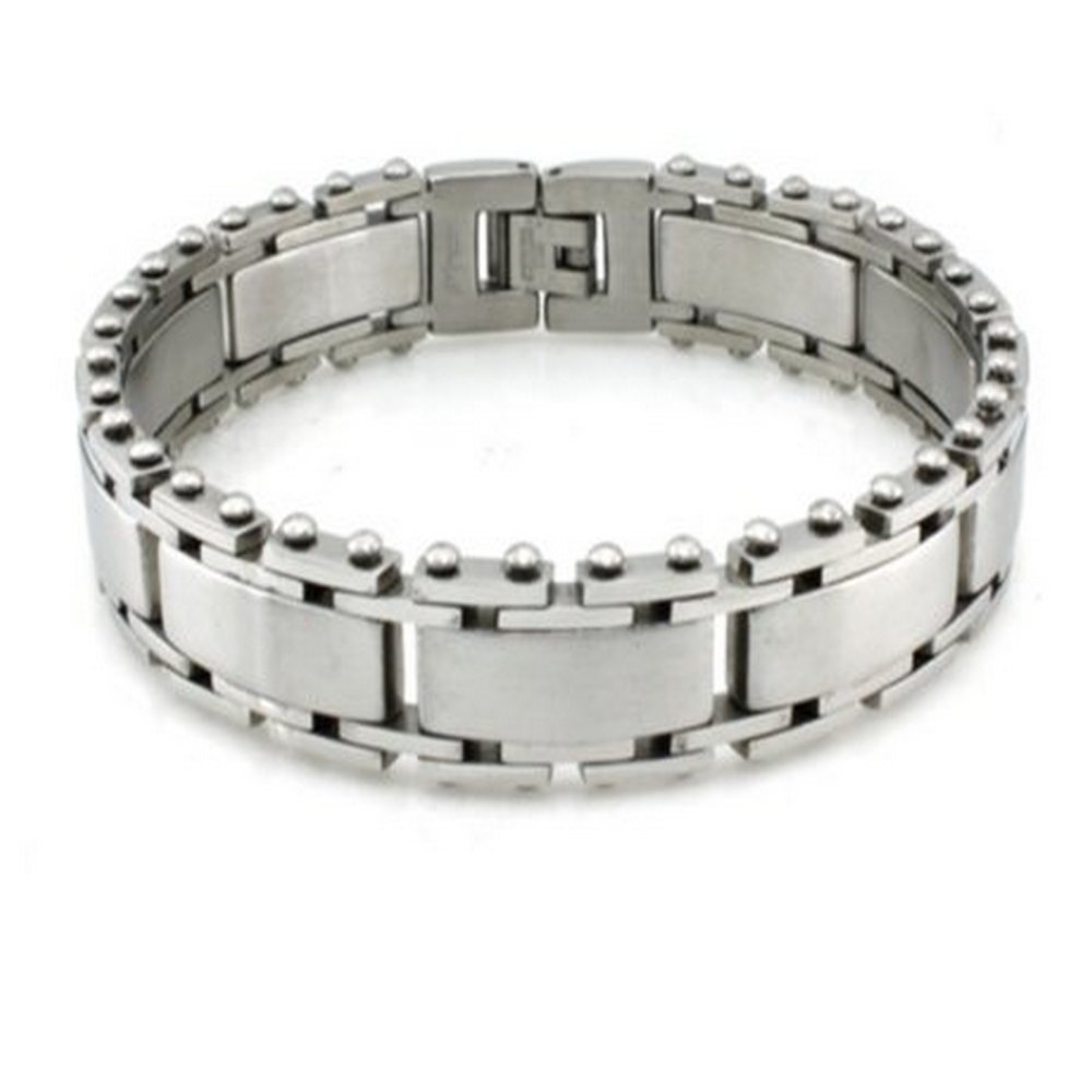 Mens Stainless Steel Bracelet Satin Finish with High Polished Edges