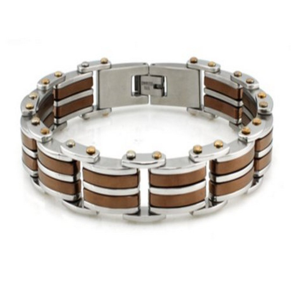 Mens Stainless Steel Bracelet High Polish Finish Black & Brown Accents