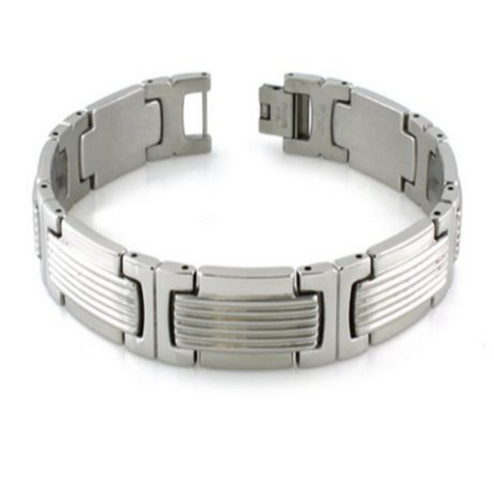 Mens Bracelet has Grooved Satin Center & High Polish Finished Edges