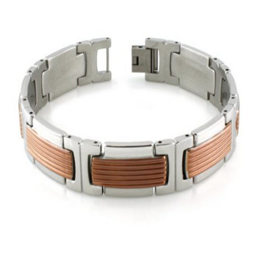 Mens Bracelet has Grooved Rose Gold Center & High Polished Edges