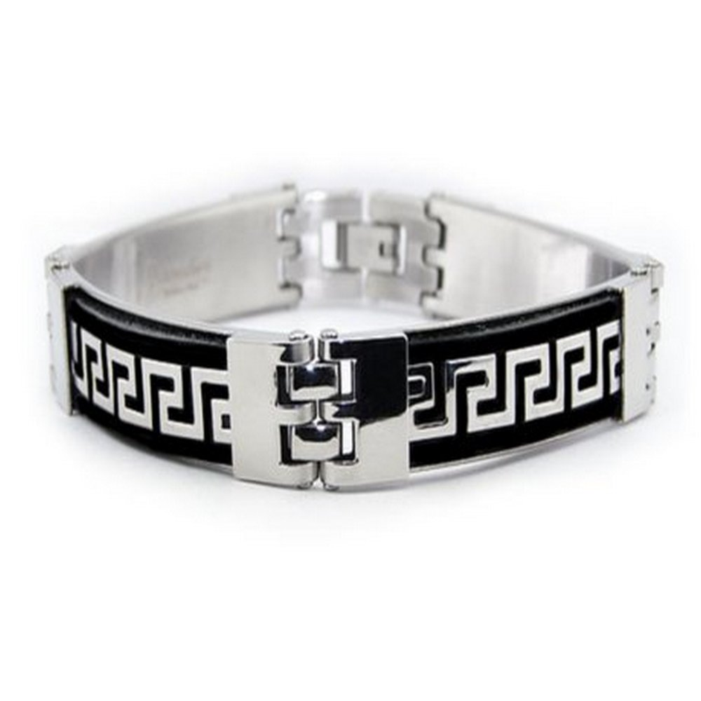 Mens Stainless Steel Bracelet High Polished Finish & Black Inlay