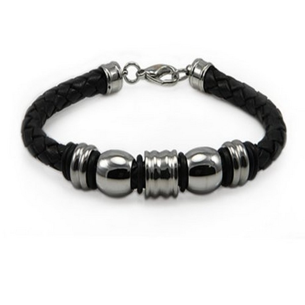 Mens Bracelet with Leather Rope Base & High Polished Beads | 10mm Wide