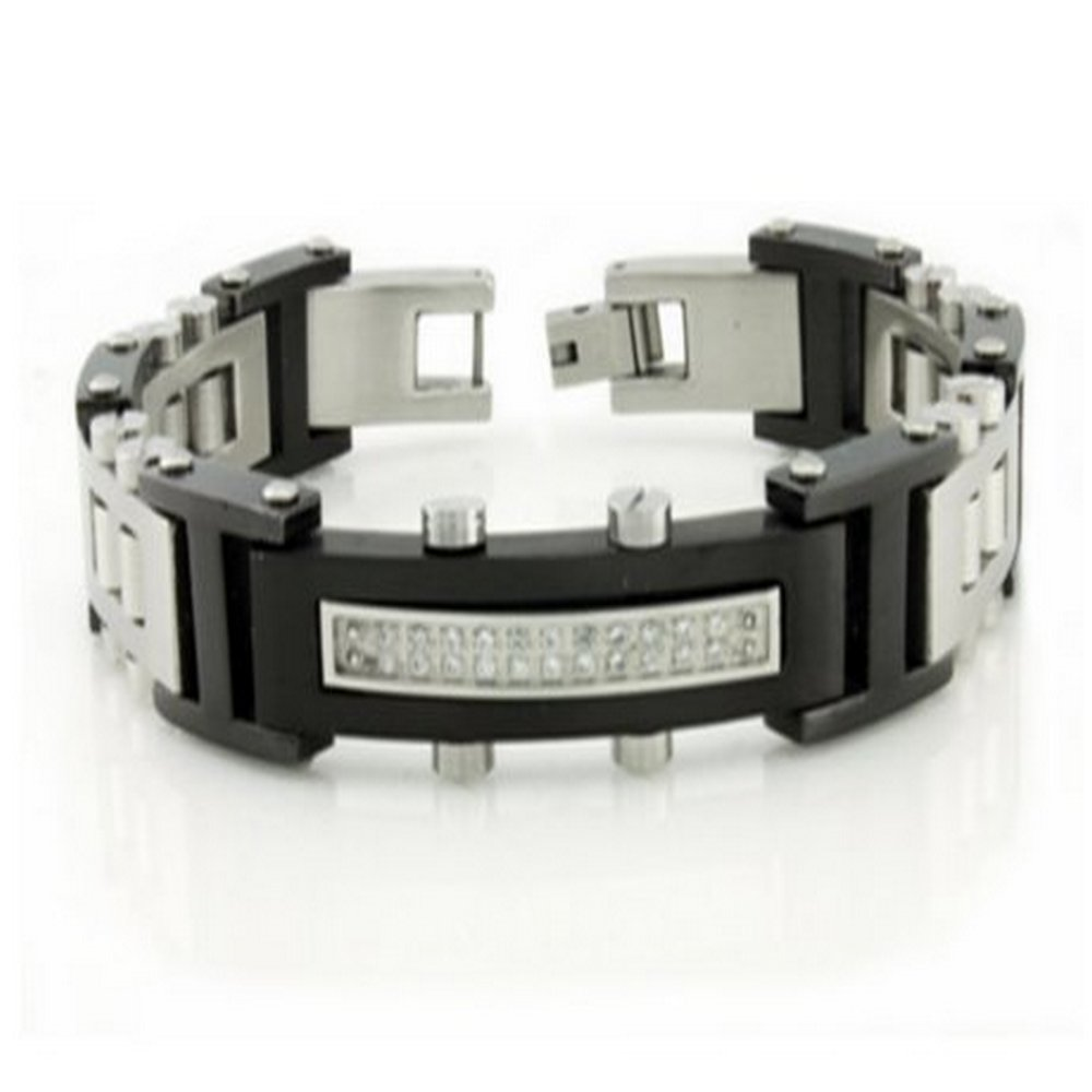 Mens Bracelet Black & Polish Links with Cubic Zirconia Stones