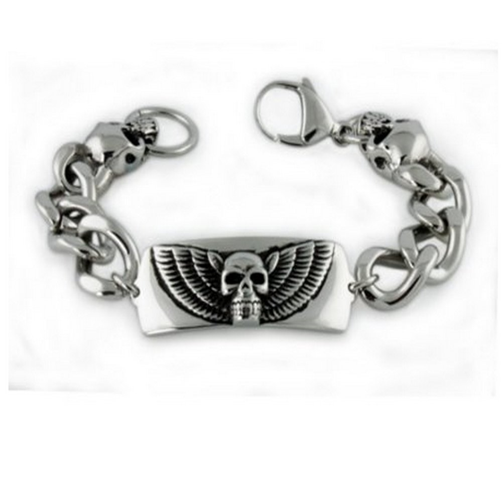 Mens Stainless Steel Bracelet High Polished Finish & Skull Accent
