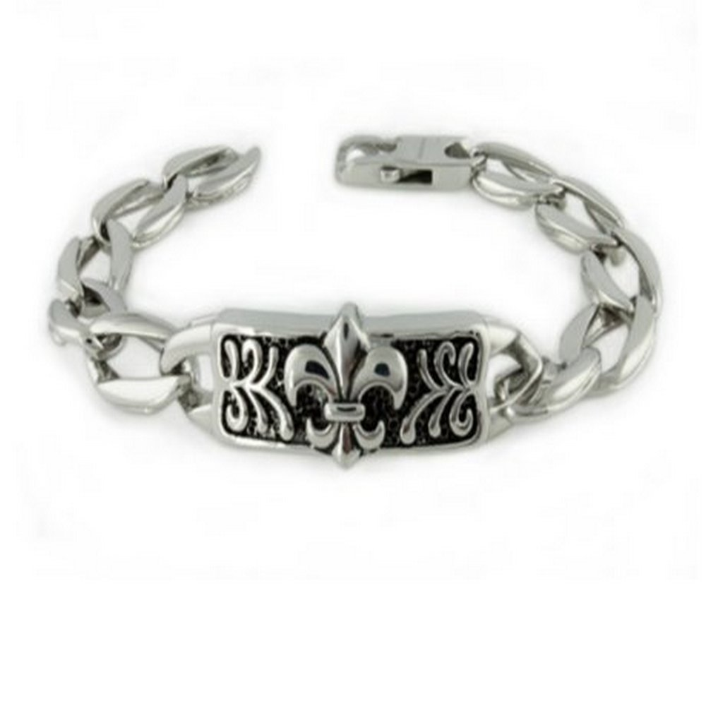 Mens Stainless Steel Bracelet Polished Finish & Oxidized Center