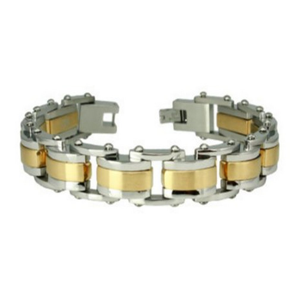 Stainless Steel Bracelet for Men Gold Accents & Polished Finish