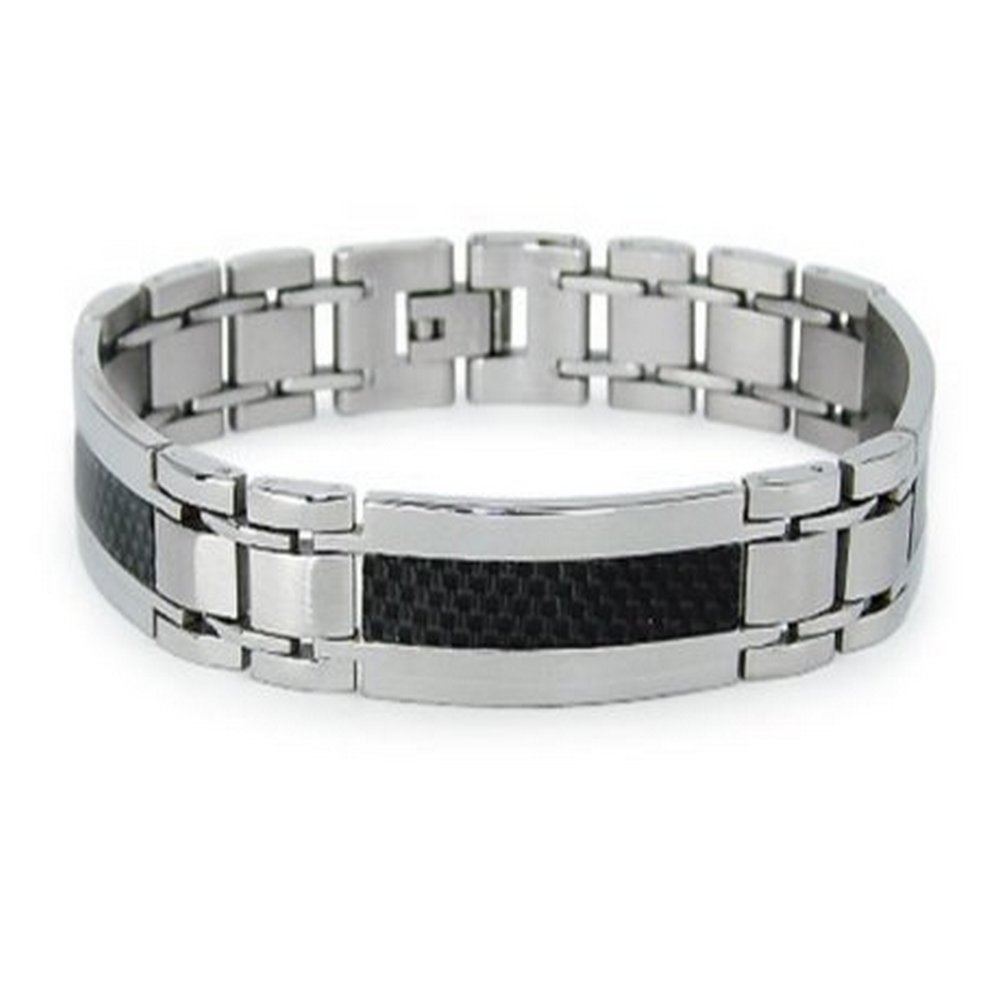 Mens Stainless Steel Bracelet with Black Carbon Fiber Center