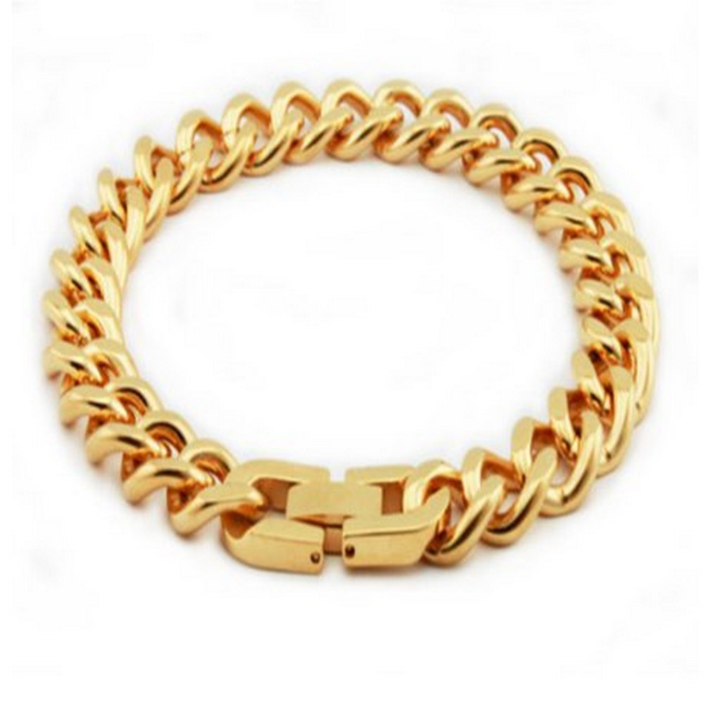 Mens Stainless Steel Bracelet Gold Coating & High Polish Finish