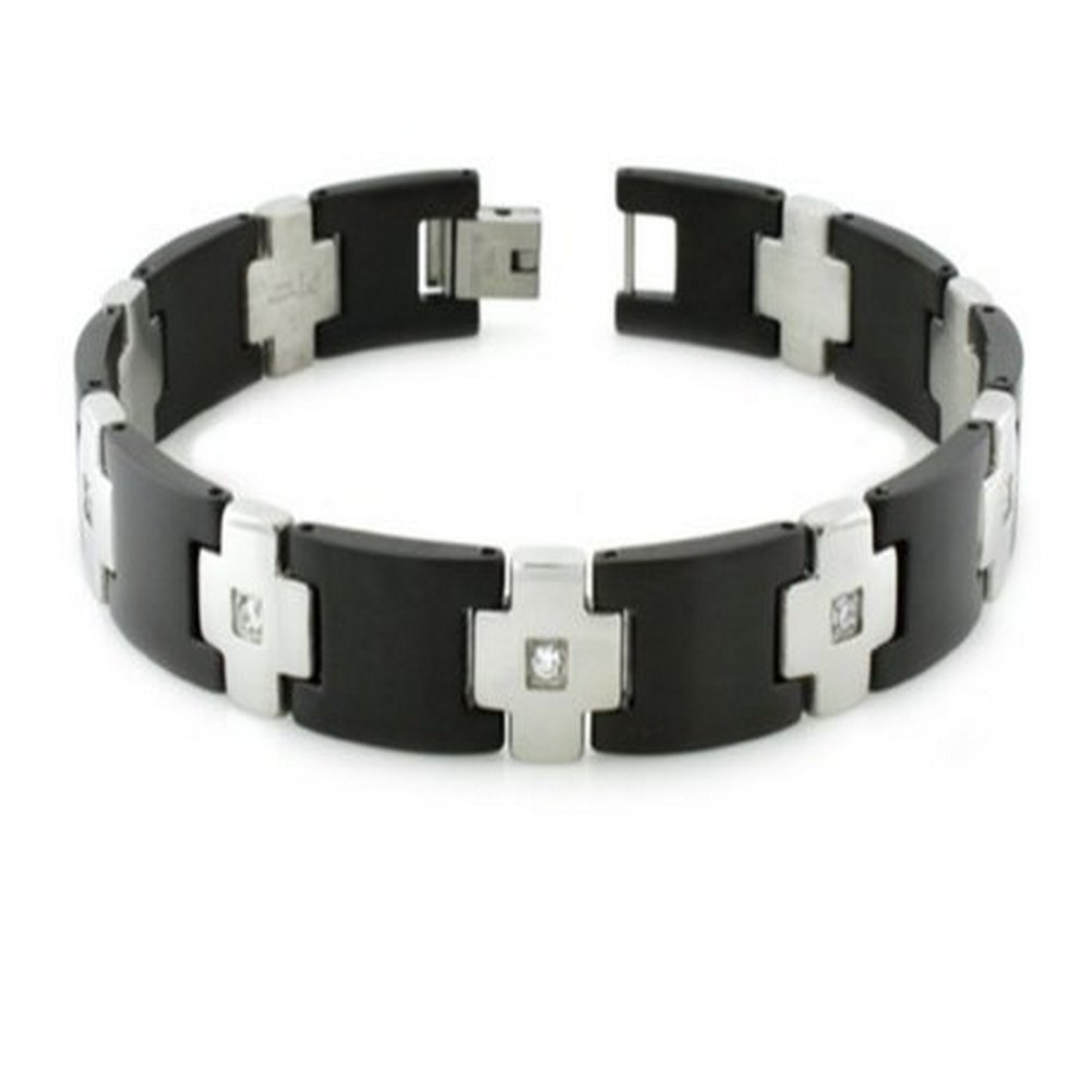 Mens Bracelet Black & Polished Links Cubic Zirconia