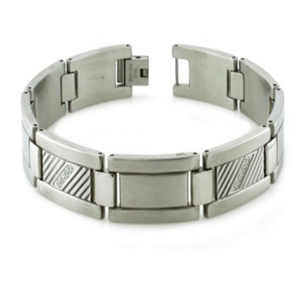 Mens Bracelet Center Grooves with Cubic Zirconia