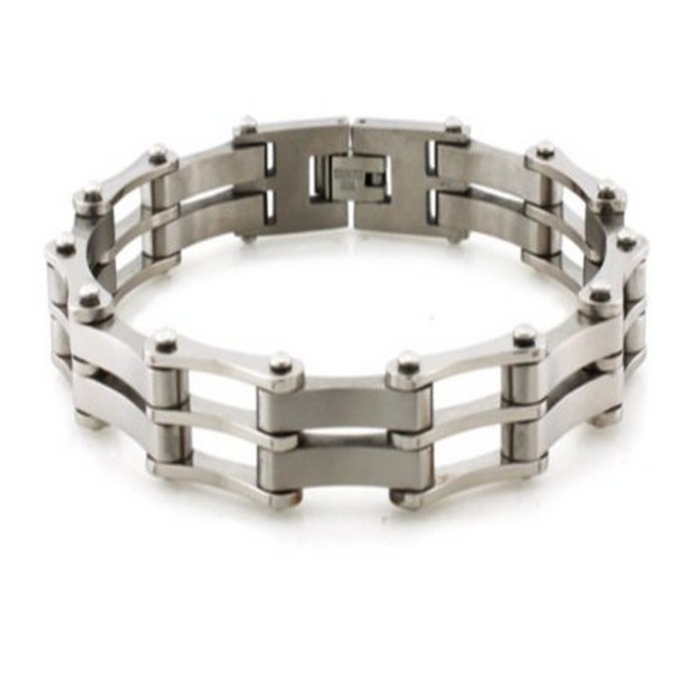 Mens Titanium Bracelet with Polished and Matte Finishes
