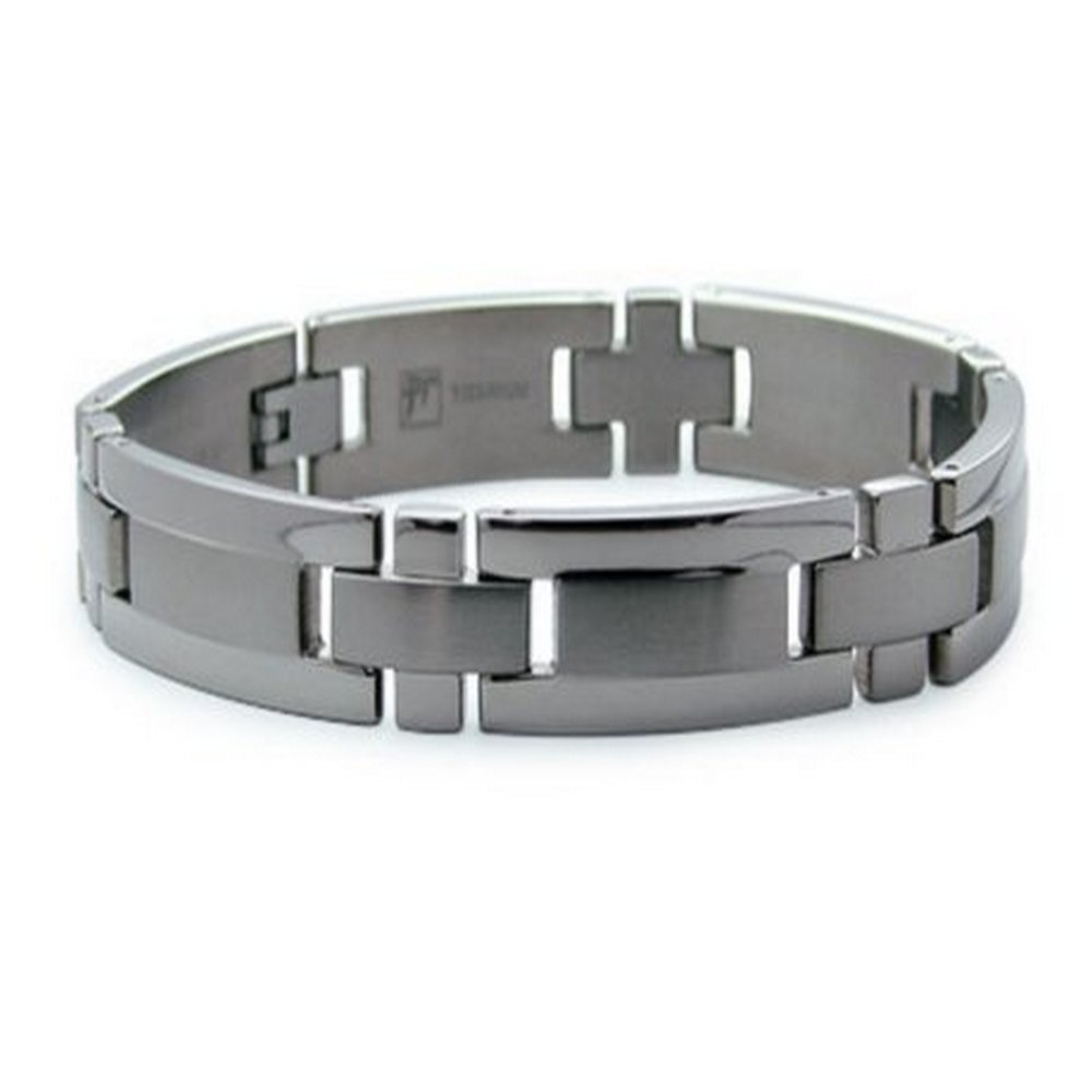 Titanium Bracelet Satin Center Polished Edges