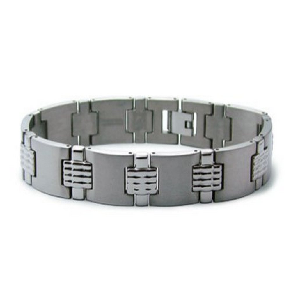 Mens Titanium Bracelet Satin & Grooved Finishes