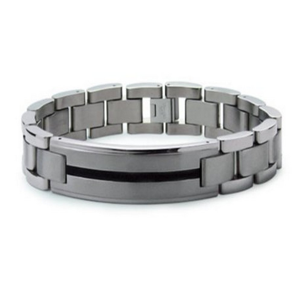 Titanium Bracelet with Black Resin Inlay Stripe