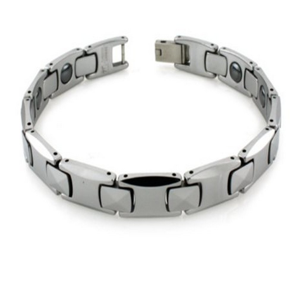 Mens Tungsten Bracelet Polished with Magnets
