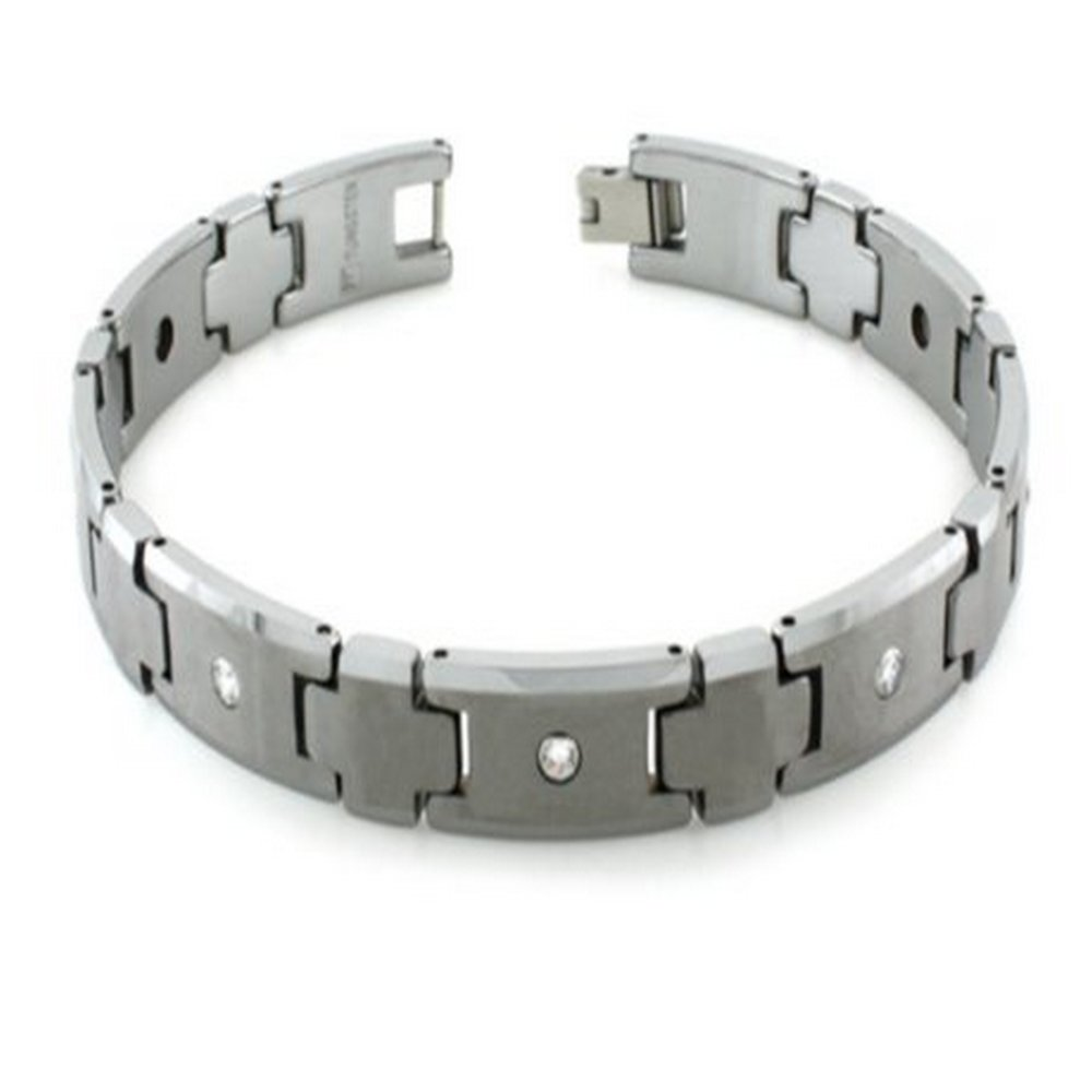 Mens Tungsten Bracelet with Cubic Zirconia