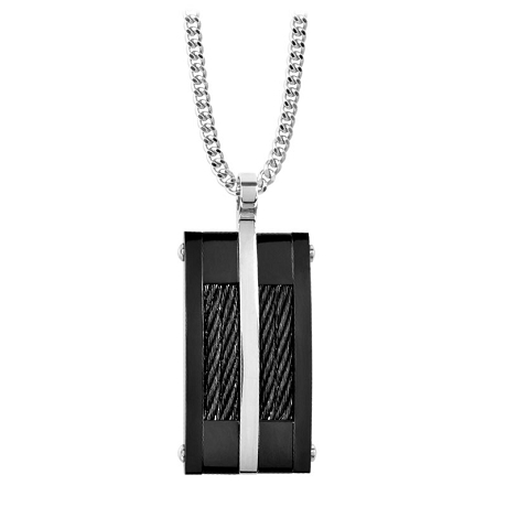 Mens Black Cable Pendant | Stainless Steel