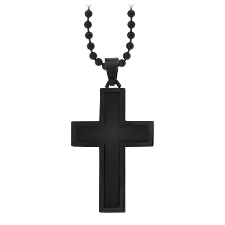 Mens Black Cross Pendant | Stainless Steel Carbon Fiber