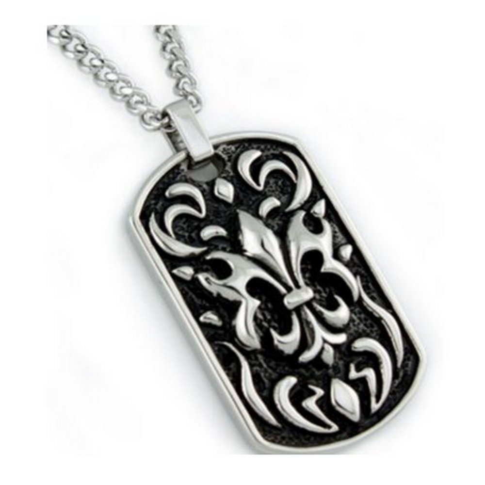 Stainless steel pendant with oxidized look for men| 26mm width