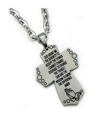 Stainless steel pendant with Prayer for men| 25mm width