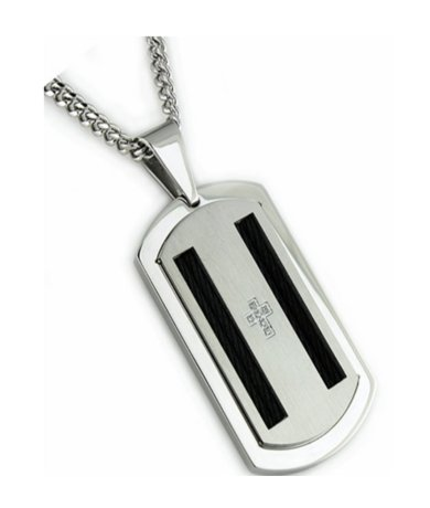 Stainless steel pendant for men with CZ| 26mm width