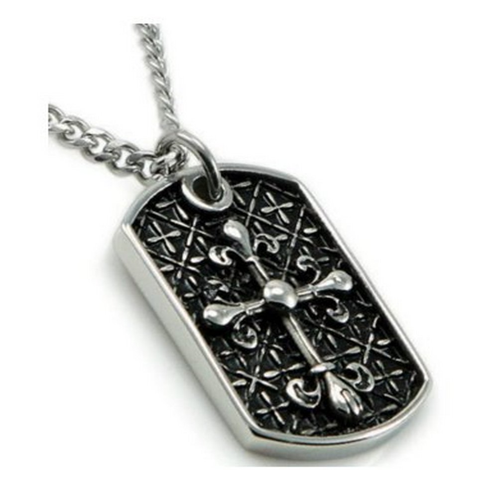 Oxidized men's stainless steel pendant| 23mm width