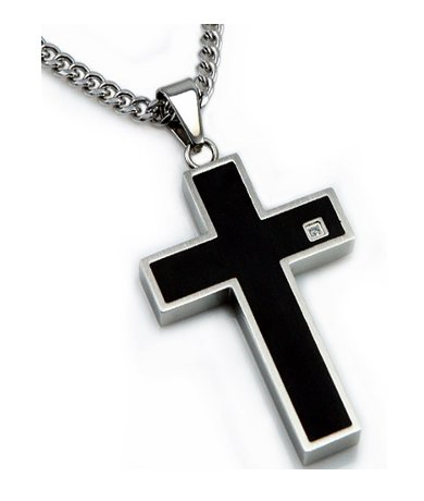 Men's stainless steel pendant with black enamel| 23mm width