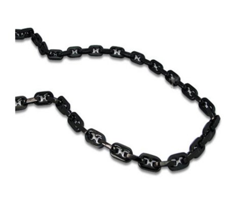 Men's stainless steel necklace in Black IP| 9.5mm width