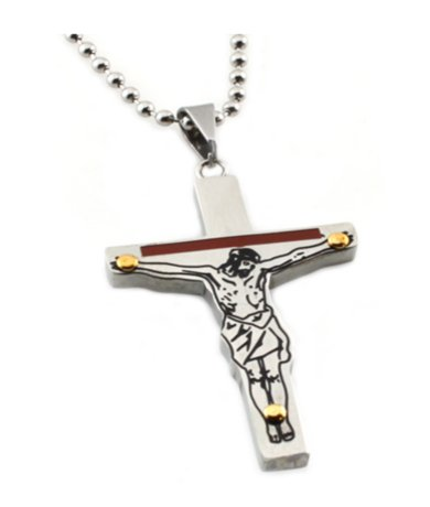 Mens Pendant Cross with Red Enamel Inlay & 24