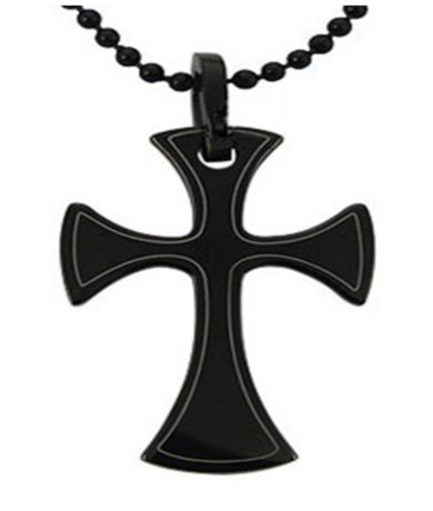Mens Pendants Polished Black Cross & 22