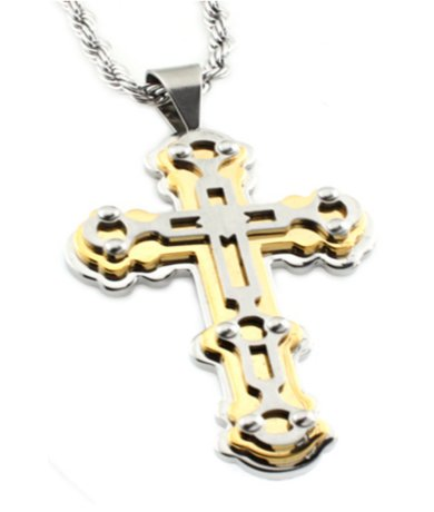 Mens Stainless Steel Pendants Cross with Gold Accents 24