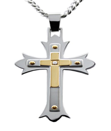 Mens Stainless Steel Pendant Cross & Cubic Zirconia Center Stone