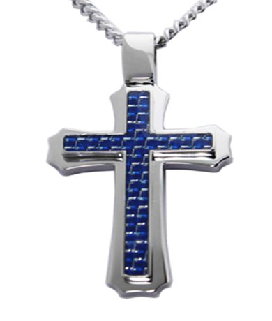 Mens Pendants with Polished Finish & Blue Carbon Fiber Inlay