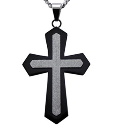 Mens Pendants with Black Cross & Sandstone Finished Center 24