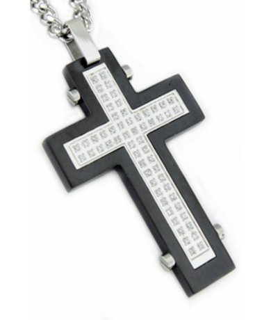 Mens Pendants Matte Black Base Polished Cross & Cubic Zirconia Stones