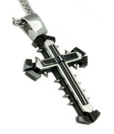 Stainless Steel Pendants for Men Polished Cross with Black Accents