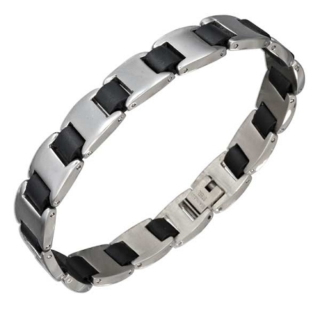 Stainless Steel Polished Bracelets | Black Links