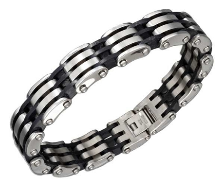 Mens Black Stainless Steel Bracelets