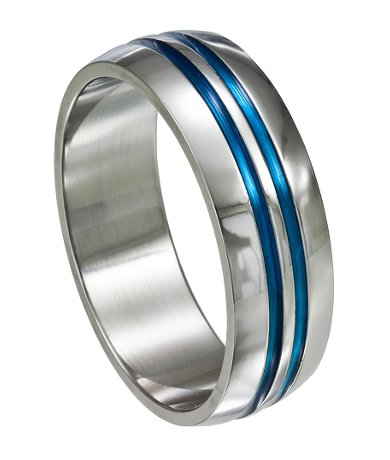 Stainless steel ring with blue grooves
