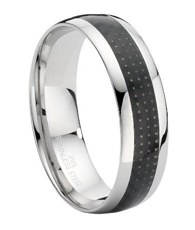 Stainless Steel Ring with Carbon Fiber Inset
