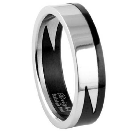 Men's Stainless Steel Puzzle Ring with Polished Finish and Black Accent | 7.5mm