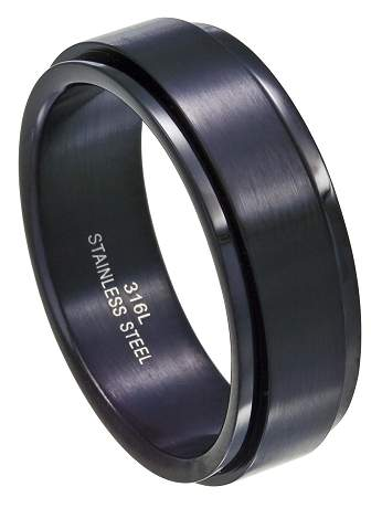 Men's Black Stainless Steel 8mm Spinner Ring with Polished Finish