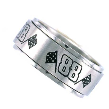 Number 88 Racing Ring with Checker Flag - Spinner Ring