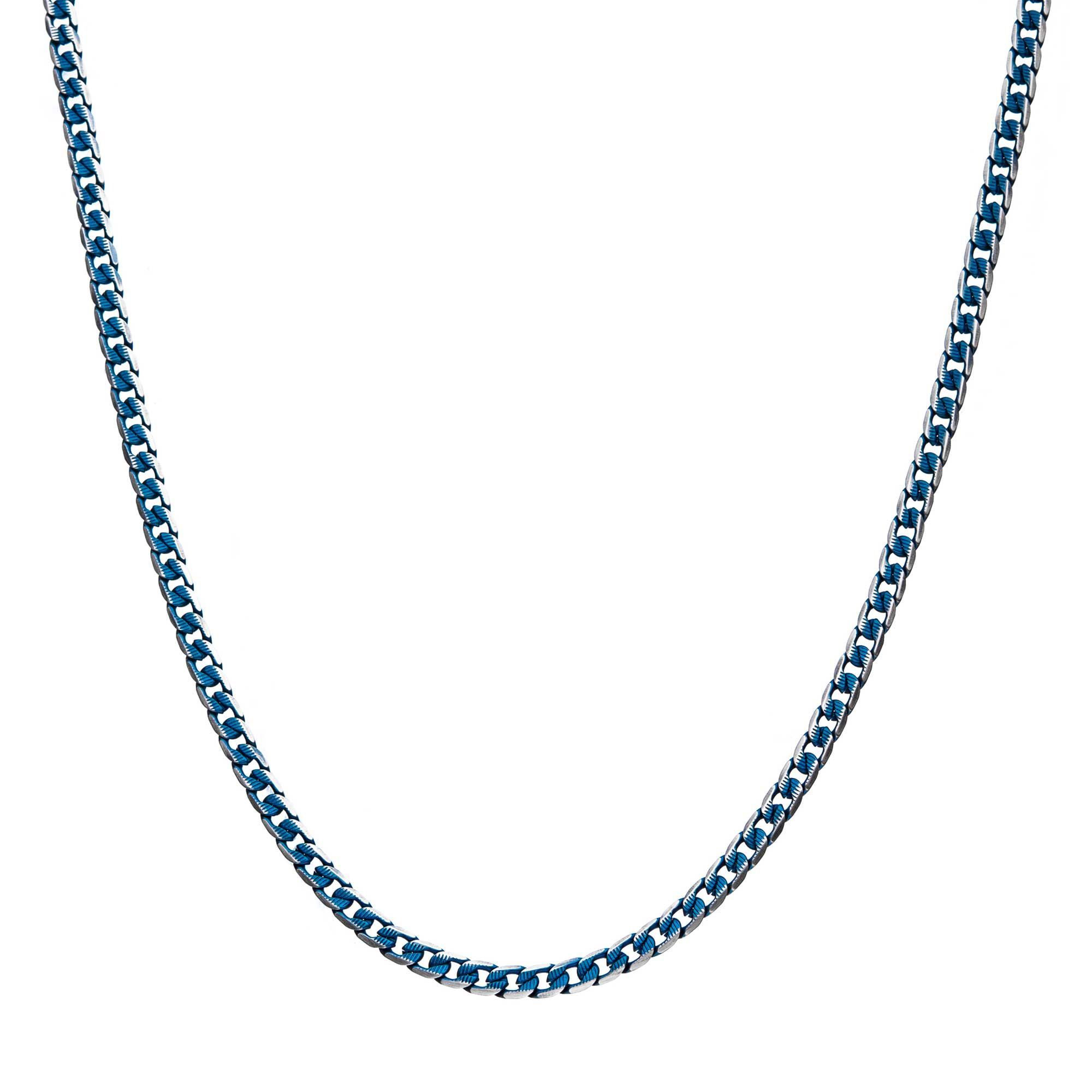 Stainless Steel Blue Plated Curb Cuban Chain with Lobster Clasp