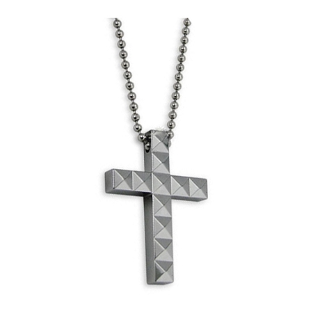 Tungsten Mens Cross Necklace Pendant