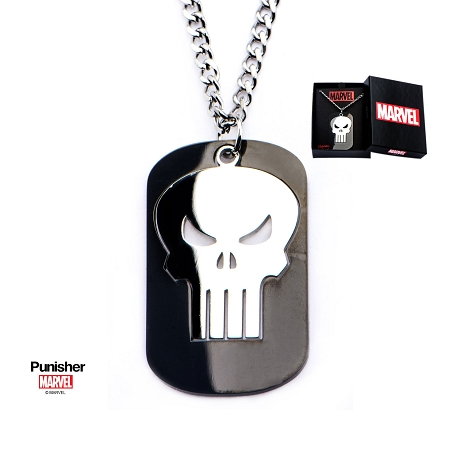 Stainless Steel Punisher Cutout of a black PVD Plated Dog Tag Pendant with Chain