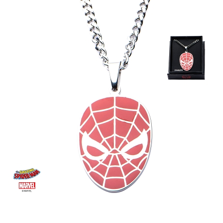 Stainless Steel Spider-Man Red Face Pendant with Chain